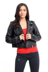 womens faux leather jacket las vintage crop biker style zipup pvc outwear new