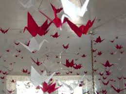 origami hanging mobiles with red white paper cranes