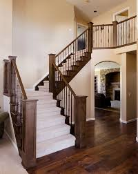 House Ideas,Stair Modern Half Turn Staircase Design Ideas With Dark  Brown,Wrought Iron Stair Railing