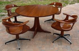 Heywood Wakefield Dining Gaming Table & Chairs Set 1960s Cliff