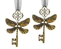 Christbaumschmuck Schlüssel Feendrachen Libelle Gold 2 Stück