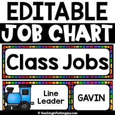 Classroom Chore Chart Classroom Job Chart