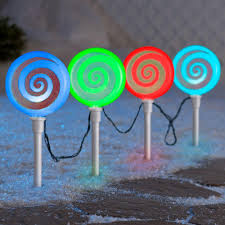 Synchro Lights Home Depot Lightshow 18 11 In Color Changing Pathway Peppermint Stakes Set Of 4