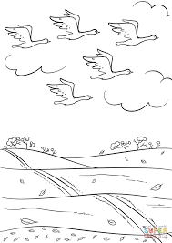 Birds Fly South in Autumn coloring page | Free Printable Coloring ...