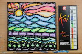 tutorial watercolor puff paint sunset stained glass painting series you