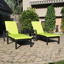 caicos chaise set with bright lime green cushions