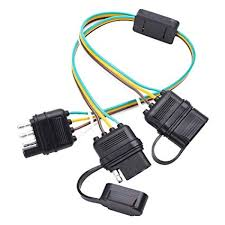 amazon com qunqi star trailer wire harness 4 pin 4 way flat y 4 Pin Trailer Wiring Diagram qunqi star trailer wire harness 4 pin 4 way flat y splitter adapter trailer