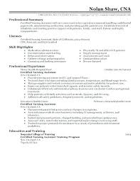 Nursing Assistant Resume Skills Classy Cna Resume Templates Beauteous Certified Nursing Assistant Resume