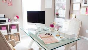 white office decors. Pink Office White Decors
