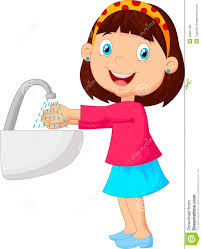 ilration of cute cartoon washing her hands