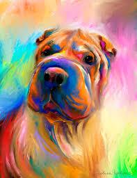 colorful shar pei dog portrait painting painting by svetlana novikova