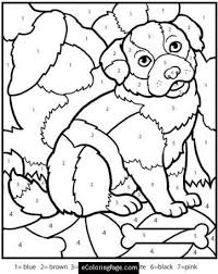 Small Picture color by numbers dog coloring page for kids color by number