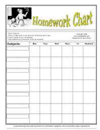 Homework Chart Template For Teachers Printable Homework Charts Keep Mom From Pulling Her Hair Out