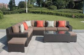 higreen outdoor kingston 9 piece patio wicker sectional furniture sofa set canvas cocoa brown