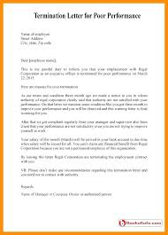 Sample Termination Letter Employee Poor Performance Of Free