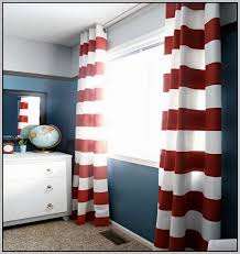 white and red striped curtains