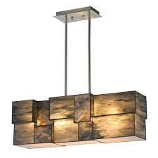 titan lighting braque collection 4 light brushed nickel chandelier with dusk sky tiffany cube glass