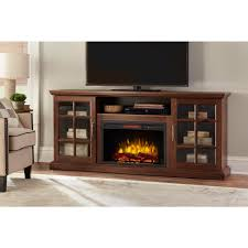 home decorators collection edenfield 70 in freestanding infrared electric fireplace tv stand in burnished walnut