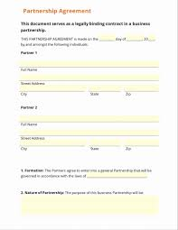 Partnership Agreement Template Free Download Simple Partnership Agreement Free Fresh Partnership Contracts Free 1