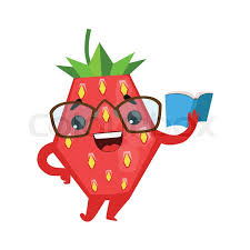 funny strawberry in eyegles reading book cute cartoon emoji character vector ilration isolated on a white background stock vector colourbox