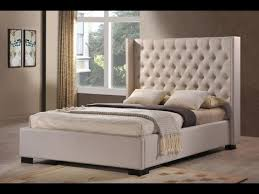 Leather Tufted Wingback Bed