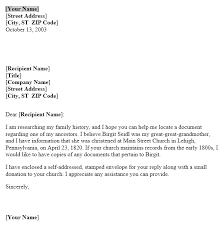 Church Genealogy Letter To Request For Genealogy Records From Church