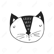 北欧風の猫のキャラクターとかわいい手描き下ろし保育園ポスターモノクロのベクター イラストです