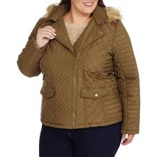 women s plus size quilted chevron puffer coat with fur trim hood com