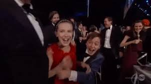 millie bobby brown and finn wolfhard gif. young performers finn wolfhard, caleb mclaughlin, noah schnapp, gaten matarazzo, and millie bobby brown literally jumping up down with joy. (m) wolfhard gif