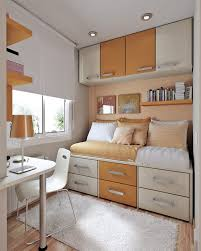 Modern Design For Bookshelf Ideas For Small Rooms : Inspiring Orange Theme Small  Rooms Interior Bookshelf ...
