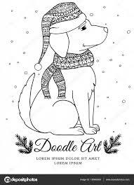 Vector Kerstmis Illustratie Zentangl Hond In Een Sjaal En Muts