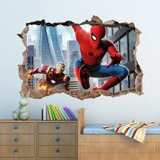 3d marvel spiderman hole in wall