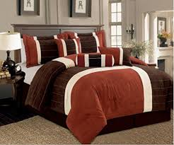 rust colored comforter sets. simple comforter 7 pc micro suede rust brown and cream colored comforter set striped  design for rust sets l