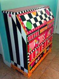 brightly painted furniture. Brightly Painted Drop-top Desk In Circles, Checks, And Stripes | Rebecca Waring Furniture N