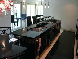 interior black and white kitchens rectangle brown island galaxy granite wooden window free standing counter countertop