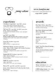 Awards Resume Resume Awards Jimmy Adtani Writer