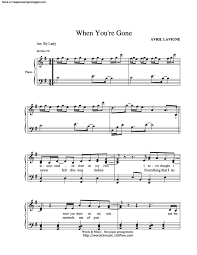 since you been gone sheet music when youre gone free sheet music by avril lavigne pianoshelf