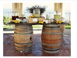 Table With Drink Trough Wine Barrels Wine Crates Wine Bottle Lights Drink Troughs