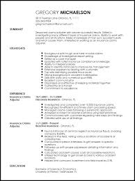 Free Professional Resume Templates Stunning Free Professional Insurance Claims Adjuster Resume Template ResumeNow