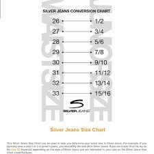 Silver Jeans Size Chart Silver Jeans Size Chart