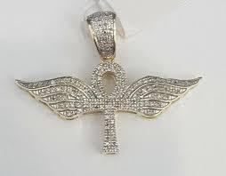14k yellow gold finish ankh angel wing