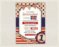 Fourth Of July First Birthday Invitation Girl Boy Invite Gender Neutral 4th July Patriot Red White And Blue Stars And Stripes Party