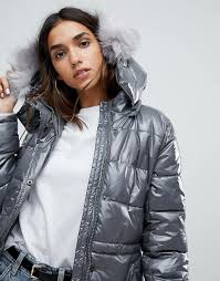 boohoo padded coat with faux fur hood h98h7 for women