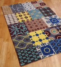 image of hand tufted blue stripe wool rug