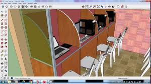 Computer Cyber Cafe Interior Design Small Cyber Cafe Design In Sketchup