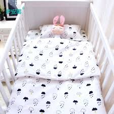 cloud crib bedding set baby cotton for newborn black white clouds raindrop design silver nursery