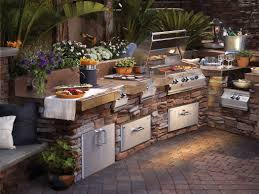 outdoor kitchen island design u shaped stone outdoor island stainless steel grill gass beige concrete island