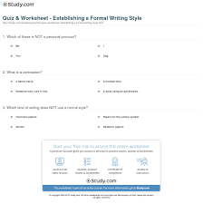 quiz worksheet establishing a formal writing style com print how to establish and maintain a formal writing style worksheet
