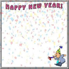 happy new year border with confetti and man celebrating larger print version