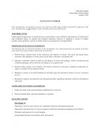 Amazing Sanitation Worker Job Description Resume Ideas - Simple .